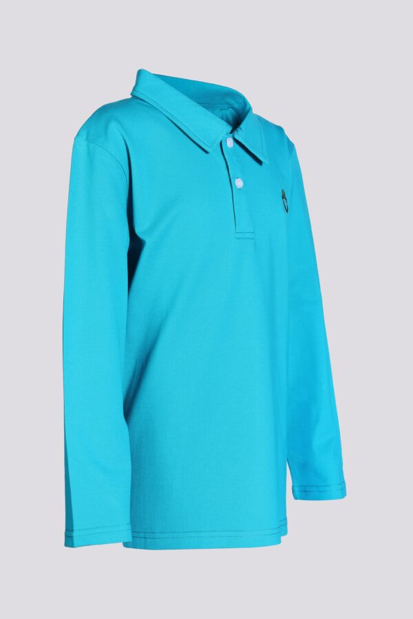 boy bugshield mosquito repellent polo turquoise side