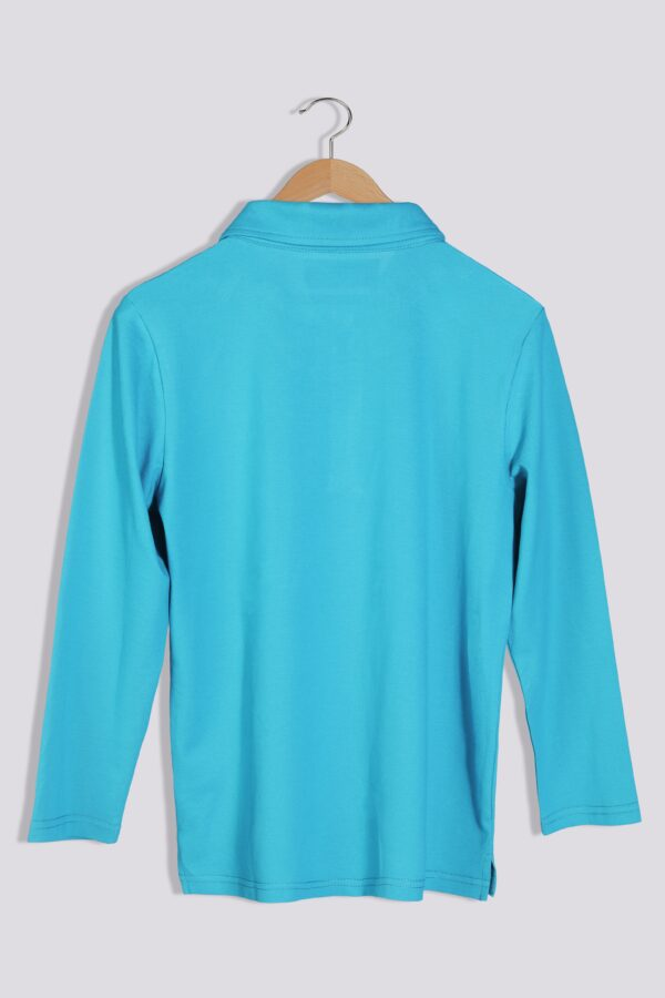 boy bugshield mosquito repellent polo turquoise back