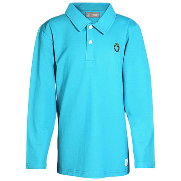 boy bugshield mosquito repellent polo turquoise front