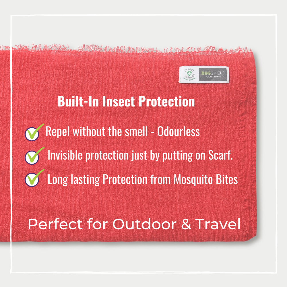 bugshield mosquito repellent scarfs red fold