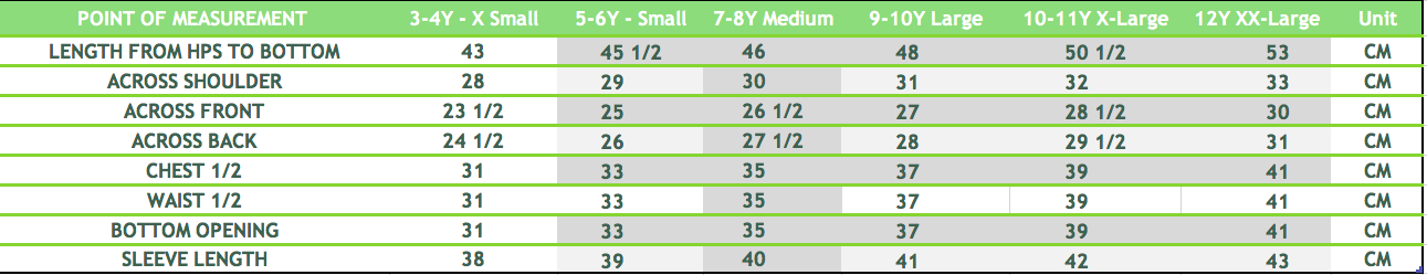 girl size chart top